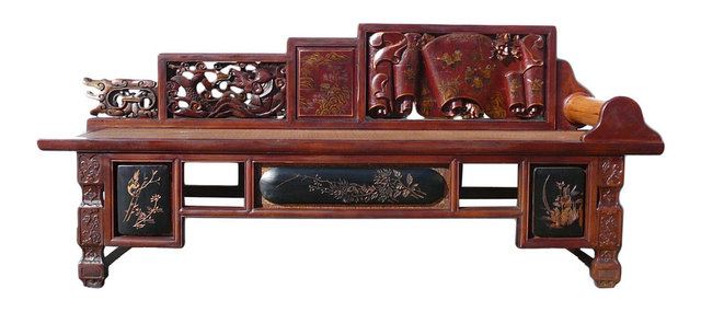 Consigned Chinese Vintage Fujian Scenery Carving Daybed Couch