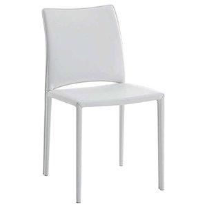 Geneva White Leather Dining Chair, Single