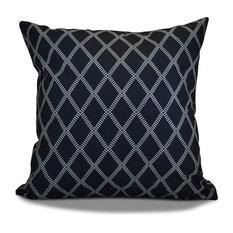 "Decorative Outdoor Holiday Pillow Geometric Print, Navy Blue, 20""x20"""