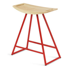 Robert Table Stool, Red, Glossy Powder-Coat, Maple