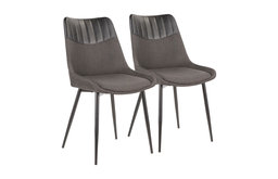 Lumisource Wayne Two-Tone Chair, Gray With Black PU Leather, Set of 2