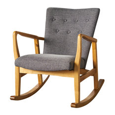 Superieur GDFStudio   Collin Mid Century Fabric Rocking Chair, Gray   Rocking Chairs