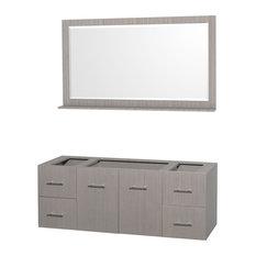 """60"""" Single Bathroom Vanity, Gray Oak, No Countertop, No Sink and 58"""" Mirror"""