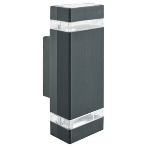 Outdoor and Porch Double Rectangle Wall Light, Black With Clear Diffuser