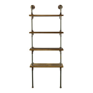 """Sacramento Industrial Chic 33"""" Wide Etagere Bookcase Display, Rustic Bronze/Ligh"""