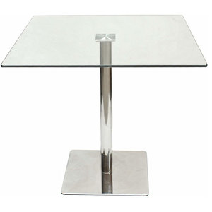 Square Dining Table with Tempered Glass Top and Chrome Plated Base