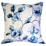 "Pillow Decor Ltd. - Blue Lily Linen Throw Pillow, 20""x20"" - This 100% linen pillow is printed with soft pastel blue lilies. Perfect for any room in the house, the 20 inch square Blue Lily Linen pillow will add an elegant floral touch to your home décor. Also available in a 12x20 inch rectangular lumbar size."