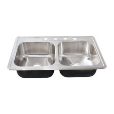 Sterling Southhaven Double Bowl 4-Hole Drop-in Kitchen Sink, Stainless Steel
