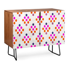 Deny Designs Diamond Weave Credenza Walnut Black Steel Legs