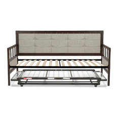 Metal Daybed, Euro Top Deck, Trundle Bed Pop-Up Frame, Brushed Copper, Twin