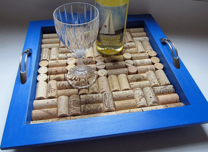 eclectic serveware True Blue Wine Cork Tray by LizzieJoeDesigns