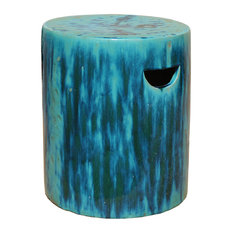 Chinese Ceramic Clay Turquoise Green Glaze Round Garden Stool