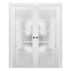 French Double Pocket Doors 60 x 96 & Frames | Quadro 4002 White Silk