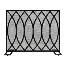 Junior Modern Single PanelIron Fire Screen, Black Brushed Silver Finish