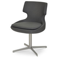 Chair With Matt Brushed Nickel Base, Light Gray Leatherette