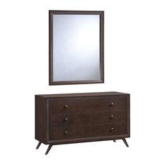 Modern Urban Contemporary Dresser and Mirror, Cappuccino Wood
