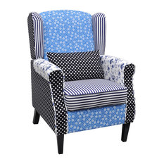 Patchwork Wingback Armchair Accent Chair Fabric Upholstered w/ Oak Feet Vintage
