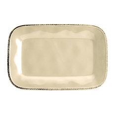 """Cucina Dinnerware 8""""x12"""" Stoneware Rectangular Platter, Almond Cream"""