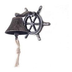 Cast Iron Hanging Ship Wheel Bell Nautical Bell Metal Wall Art, Antique Silver