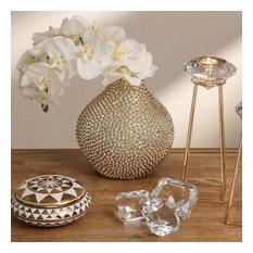 Sagebrook Home Flat Gold/White Triangle Jar