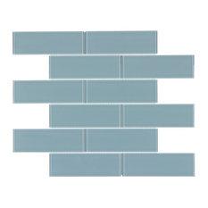 MTO0131 Classic Subway Mosaic Blue Glossy Glass Mosaic Tile