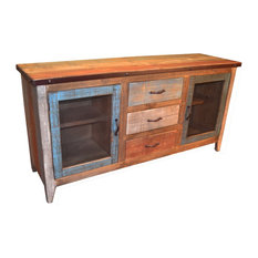 Bayshore Wood Sideboard With Metal-Door Panels And 3 Drawers