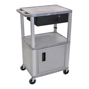 Nickel Leg Offex 42H Multipurpose Electric A//V Cart with 3 Shelves and Drawer Purple