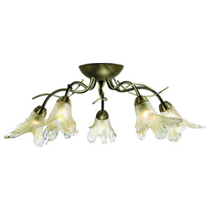 Lily 5-Light Antique Brass Semi Flush Ceiling Light, Amber Petal Glass