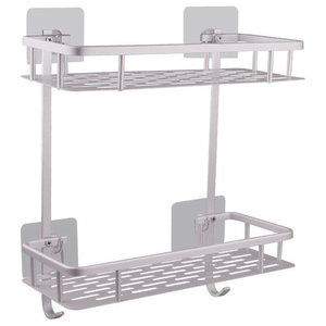 No Drilling Bathroom Shelves, Aluminium With 2 Open Shelves for Storage