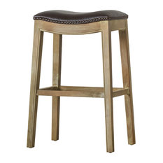 Elmo Bonded Leather Bar Stool With Weathered Smoke Legs Vintage Dark Brown