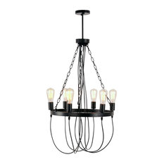 Round iron chandeliers houzz lami light 6 lights antique black round wrought iron dining room chandelier chandeliers aloadofball