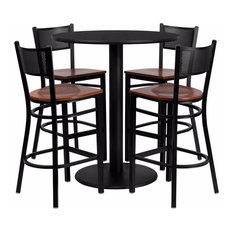 Offex 36'' Round Black Laminate Table Set With 4 Grid Back Metal Barstools