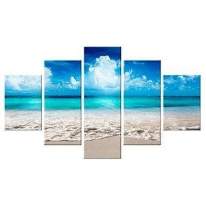 Sea Summer Worldvogue 5-Piece Modern Canvas Wall Art, 150x100 cm