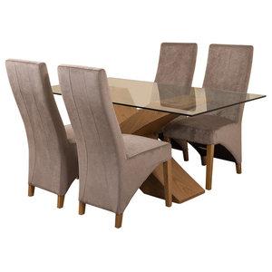 Valencia Glass, Oak Dining Table, 4 Lola Chairs, 160 cm, Grey Velvet Effect