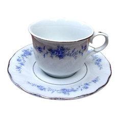 Consigned Floral Silver Purple Green Tea Coffee 8-Piece Set