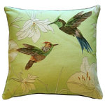 Pillow Decor Ltd. - Pillow Decor - Hummingbirds Green French Tapestry Throw Pillow - Two wonderfully detailed hummingbirds hover on the front on this dazzling French tapestry throw pillow. A light citrus green background and pale green flowers are the perfect backdrop against the deeper green, brown, blue and red markings of the hummingbirds. This pillow is a stylish tribute to these remarkable birds.