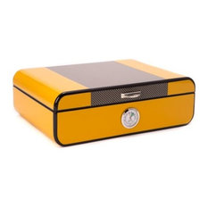 Bey Berk Carbon Fiber and Yellow Lacquered 25-Cigar Humidor