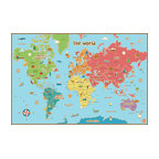 Kids World Dry Erase Map Wall Decal