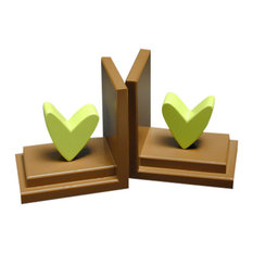 Heart Bookends, Lime With Chocolate Base