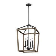 Gannet 4 - Light Chandelier in Weathered Oak Wood / Antique Forged Iron