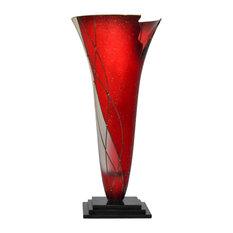 Pompeii Decorative Glass Vase, Red