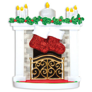 Personalizable Table Topper, New Mantle With Stockings Family of 2