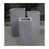 Tall Square Contemporary Grey Light Concrete Planter H80 L40 W40 cm