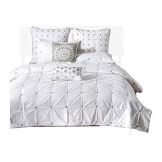 Percale Duvet Cover Set With Embroidery, White, King/California King