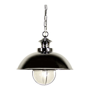 Dover S1 Steel and Seeded Glass Pendant Light, Chrome