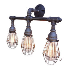 industrial bathroom lighting. nelson vanity 3light fixture with wire cages bathroom lighting industrial