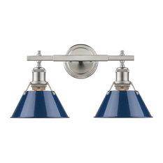 Golden Lighting Orwell 2-Light Bath Vanity, Pewter, Navy Blue