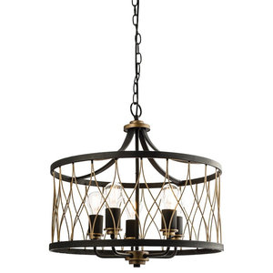 Heston 5-Light Rustic Bronze Pendant