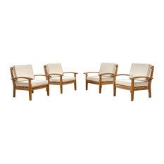 GDF Studio Preston Outdoor Wooden Club Chairs, Beige, Set of 4