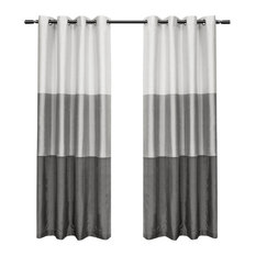 """MOD - Seraphina Grommet Top Curtains, Set of 2, Black Pearl, 54""""x108"""" - Curtains"""
